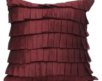 Maroon Ruffles Pillow Cover Bordeaux Ruffle Euro Sham Covers Garnett Textured Pillow 14x14 16x16 18x18 20x20 22x22 24x24 26x26