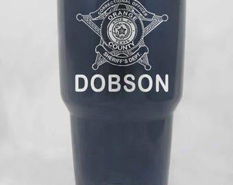 Sheriff Badge on RTIC or YETI stainless or powder coated 20 30 or 64 oz