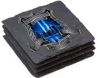 Police Natural Stone Coasters - After Math 911 Police Gift Box (Set Of 4) SKU: FF2092-SC4BX
