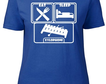 Eat. Sleep. Xylophone. Ladies semi-fitted t-shirt.