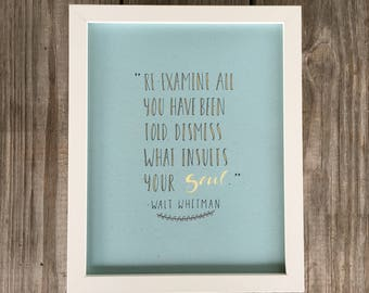 Walt Whitman Wall Art, Walt Whitman Print, Walt Whitman Quote
