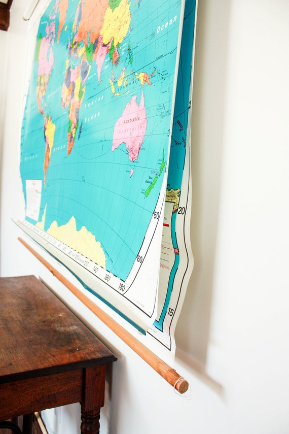 Vintage usa map world map hanging map pull down map united vintage usa map world map hanging map pull down map united states school wall map push pin map large vintage wall map mid century map gumiabroncs Images