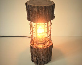 rustic lamp, cage lamp, log lamp, log light, rustic gift, rustic lighting, rusty metal, floor lamp, wooden lamp, wood lamp, vintage lamp