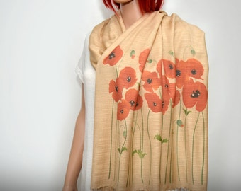 Poppy scarf, red poppy, cream beige scarf, neutral scarf, long soft scarf/shawl