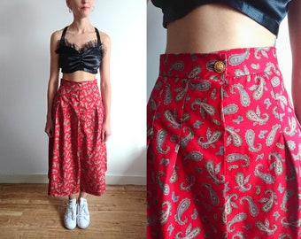 Paisley Red Midi High Waisted Skirt-Flared Skirt-Midi Skirt-1970s Skirt-Printed Skirt-Boho-Bohemian-Festival Fashion-Gypsy-Made to Order