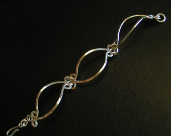 Handmade Sterling Scroll Work Bracelet, Filigree Bracelet, Handcrafted Links Bracelet
