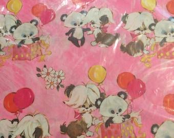 Vintage Charm Craft Panda Dog Birthday Wrapping Paper 2 Sheets