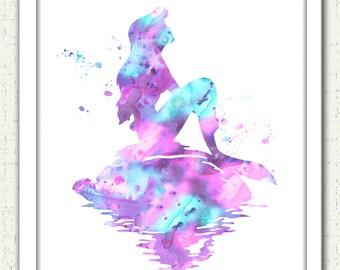 Light pink aqua lavender Mermaid art print, Ariel print, soft pink aqua purple Mermaid, Disney Ariel, Little Mermaid, Little Mermaid print