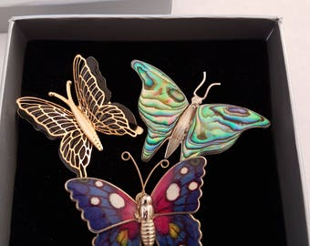 Butterfly brooches clips X3