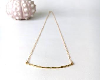 Hammered Bar Necklace, 14kt Gold Fill, Gold Vermeil, Sterling Silver, Layering Bar Necklace