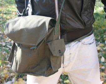 Canvas Military Bag - Messenger Bag - Weekend Bag - Crossbody Bag - Army Bag - Gray Canvas Bag - Shoulder Bag - School Bag - Boyfriend Gift