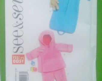 UNCUT BUTTERICK Sew and Sew 5697  Snugly Lined Bunting and Jacket and Pants