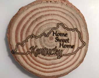 """Natural (real) Wood Engraved """"Home Sweet Home"""" Kentucky Magnet"""