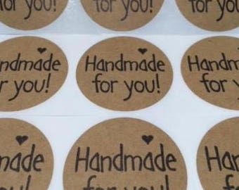 "100 Handmade For You Sticker 2"" Peel & Stick Stickers Natural Kraft"