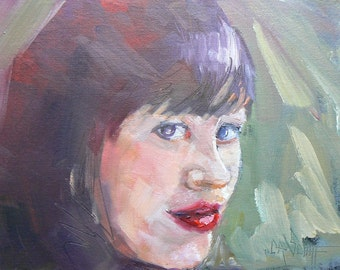"""Original Oil Portrait, 6x8 Female Head, """"Lisa"""", Daily Painting, Reduced from 109.95"""