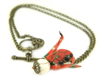Origami necklace Tsuru