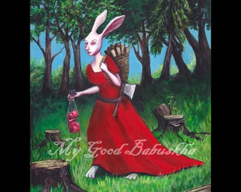 The Witch of Beaulieu Print, Fairy Tale Art, Folk Tale Art, Storybook Art, Witch, Devil, Dark Forest, Red Dress, White Rabbit, Macabre Art