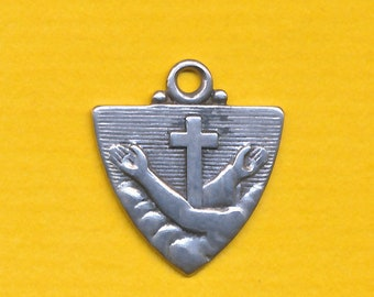 Antique sterling silver religious medal charm pendant Coat Arms Order Friars Minor - Franciscan Order (ref 1306)