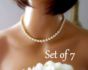 Pearl Necklace, Ivory Pearl Necklace, Bridesmaid Jewelry, Single Strand Pearl Necklace, Set of 7 Bridesmaid, Wedding Pearl Necklace