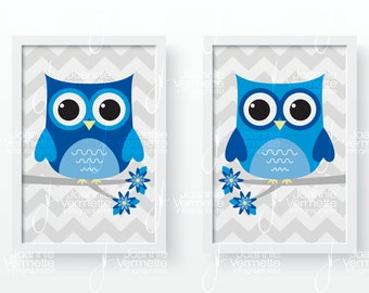 Blue owls baby room decoration