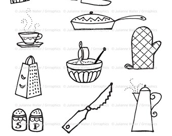 Retro Kitchen Goodies Black and White Clipart: Pots, pans, cutlery, oven mitt, cooking utensils