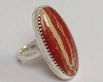 Sterling silver handmade rainbow jasper cabochon ring, hallmarked in Edinburgh
