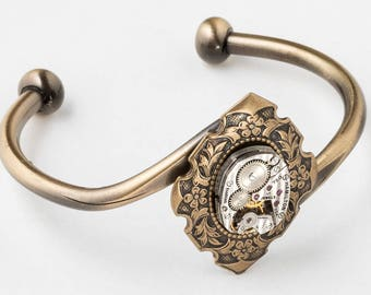Cuff Bracelet, Steampunk Bracelet with Vintage Silver Hamilton Watch & Ruby Jewels on Flower and Leaf Bezel, Gold Bracelet, Jewelry Gift