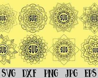 8 Mandala SVG ~ 8 Mandala Monogram SVG vector svg,silhouette svg,file circuit,cameo cut files Instant Download