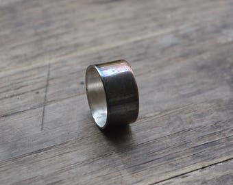 Sterling wide men's ring band, oxidize sterling ring band, wide sterling men wide ring band, simple sterling silver ring band, wide ring