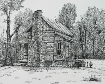 Greeting card, blank inside, cabin, rustic log cabin, cards, greeting cards, mountain cabin, pen and ink, house, stone chimney