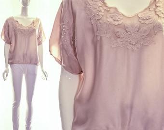 Vintage Pale White Italian Silk Drape Blouse LOTUS FLOWER applique beading small medium
