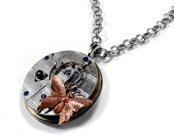 Steampunk Jewelry Necklace 1914 GUILLOCHE Etched Pocket Watch BUTTERFLY Womens Girlfriend, Boyfriend, Burning Man - Jewelry by edmdesigns