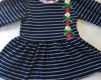 Vintage Buster Brown Navy Dress with Flower Detail