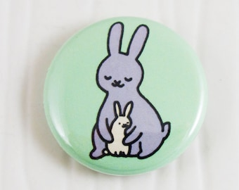 Baby Bunnies Hug One Inch Button
