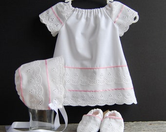 Newborn Dress, Bonnet, Shoes, Eyelet Baby Ensemble, Christening Dress, White/Pink Baby Dress, Soft Soled Baby Shoes, Silicone Baby Outfit