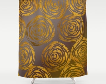"""Shower Curtain - Roses - 71"""" by 74"""" Home Decor, Bathroom, Bath, Dorm, Girl, Decor, Gift, Taupe, Golden, Roses, Pattern, Yellow"""