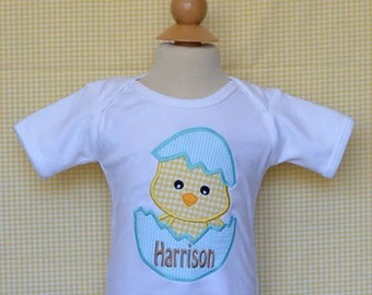 Personalized Easter Chick in Egg Shell Applique Shirt or Bodysuit Girl or Boy