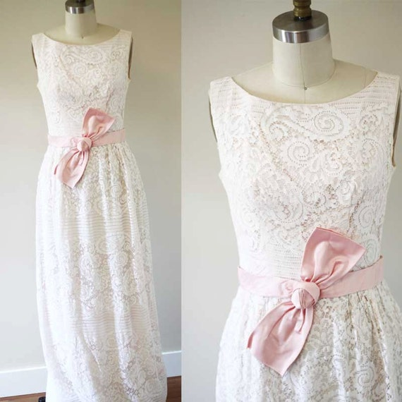 1960s lace column dress  //  1960s pink lace dress // vintage formal dress