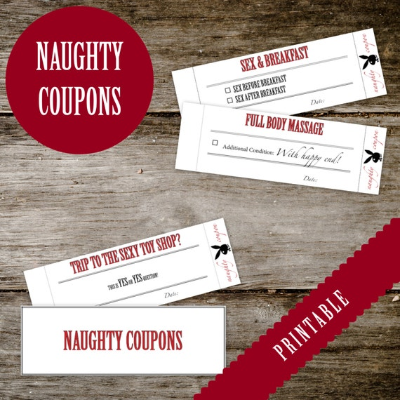 Printable NAUGHTY Coupon Book - for HIM or for HER - Adult - Naughty Coupons  for boyfriend, girlfriend, husband, wife - Instant Download