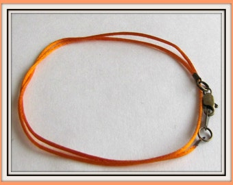 12 to 24 inch Orange Satinique Necklace Cord, Charm cord, Choker, Pendant Cord, Lobster Clasp,  Lt Weight cord, Custom