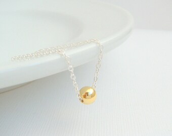 silver and gold necklace. 14k 14 k yellow gold filled bead. mixed metals. round small dainty. sterling chain. delicate everyday jewelry 6 mm