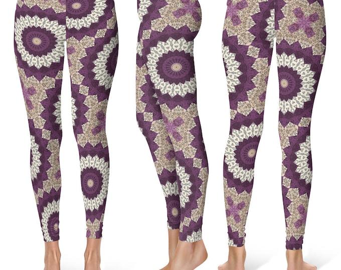 Unique Leggings Yoga Pants, Mandala Printed Yoga Tights for Women, Festival Clothing, Burning Man