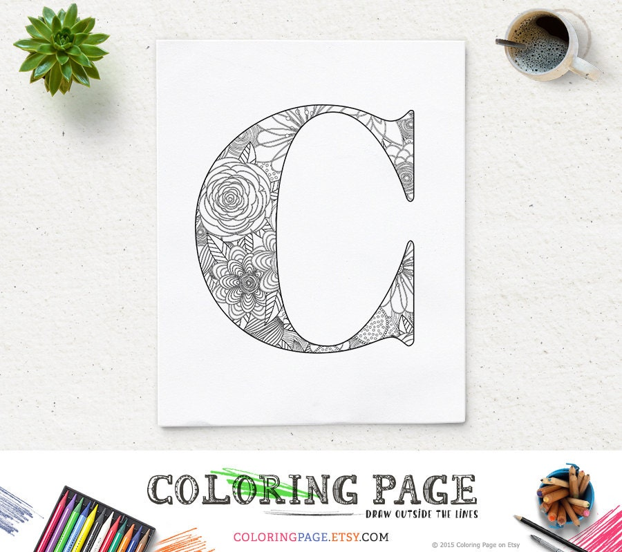 SALE Instant Download Coloring Page Printable Alphabet with