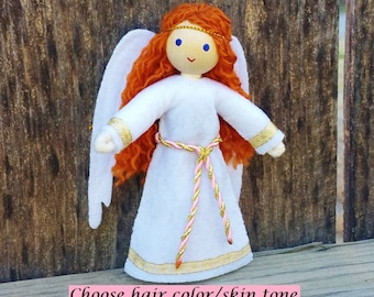 Angel Doll  - Guardian Angel Doll - Bendy Doll - Red Hair - Angel - Christmas Angel - Kindness Tradition