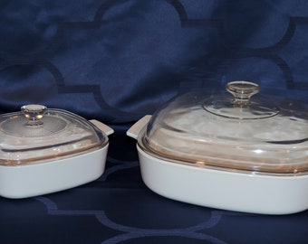 Corning Ware White Coupe 1 Quart & 2.5 Quart Covered Casseroles