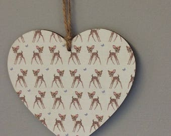 Handmade wooden hanging heart Bambi baby boy gift baby shower wall plaque