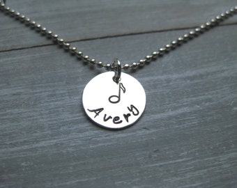 Sterling Silver Music Note Necklace Music Necklace Personalized Jewelry Hand Stamped Band Chorus Choir Musician Jewelry Musical Gift