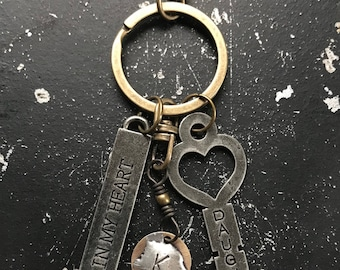 Keychain, Heart Key of your choice, Initial of your choice, Truism Tag of your choice, Bronze or Silver Metal Clip,