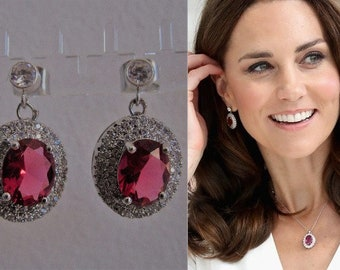 Kate Middleton Duchess of Cambridge Inspired Replikate Oval Drop Silver Ruby Red Clear Crystal Pavé Earrings