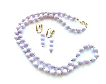 Vintage Lavender Acrylic Light Purple Beaded Necklace with Gold Tone Spacers 12.5 Inches Long and Clip On Earrings